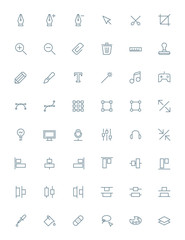 Thin line design tools icons set for web and mobile apps