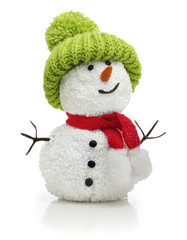 Snowman in green hat and red scarf