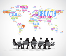 Silhouette Business People with Planning Concept