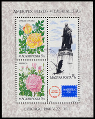Stamp printed in Hungary honoring AMERIPEX '86