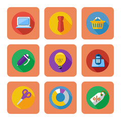 Business, shopping and marketing items icons