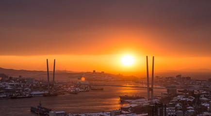 Vladivostok cityscape, sunset. Winter.