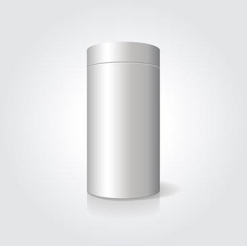 Empty white cylindrical box on the isolated background