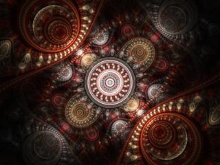 Dark colorful fractal clockwork, digital artwork