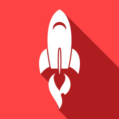 Long shadow icon with a rocket