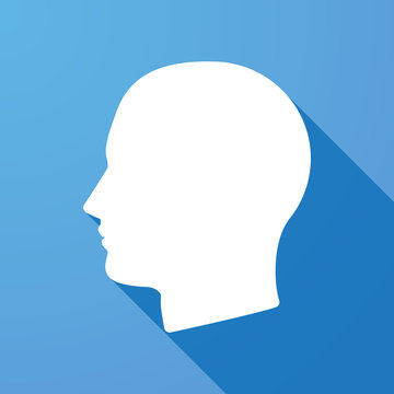 Long shadow icon with a head