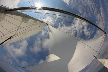 Fotobehang Zeilen background for travel - sails full of wind