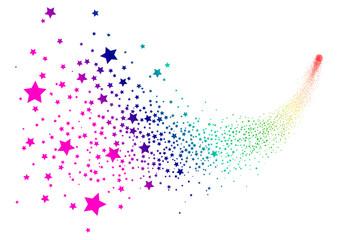 Sternschnuppe, Komet, Kometenschweif, Regenbogen, bunt, Star, 2D