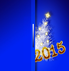 Blue  new year 2015  backgound and christmas tree.