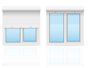 plastic window with rolling shutters vector illustration