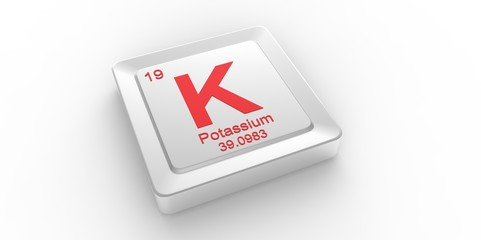 K symbol 19 for Potassium chemical element of the periodic table
