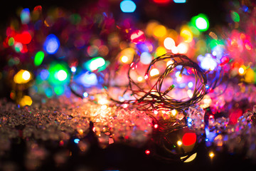 bright colored garlands bulb , selective focus