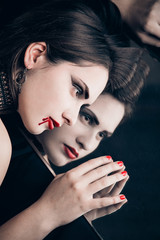Portrait of beautiful vampire woman