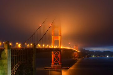 Illumination in fog, Golden Gate bridge, San Francisco