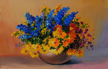 Oil Painting - colorful bouquet of yellow and blue flowers on th