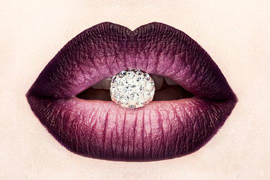 Close-up of beautiful woman's lips