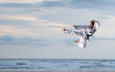 Aluminium Prints Martial arts Man jumping to practice Marcial Arts kick