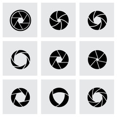 Vector black canera shutter icon set