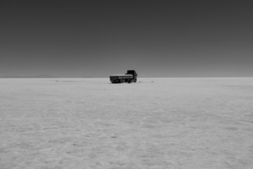 Truck in the Salt Flat Salar de Uyuni, Bolivia
