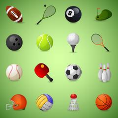 Sports Equipment Icons Set