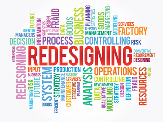 Word cloud of REDESIGNING related items, vector background