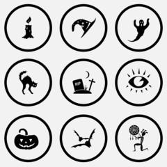 candle, astrologer's hat, ghost, cat, rip, eye, pumpkin, bats, e