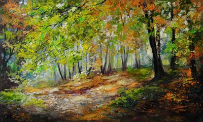 Oil painting landscape - colorful autumn forest