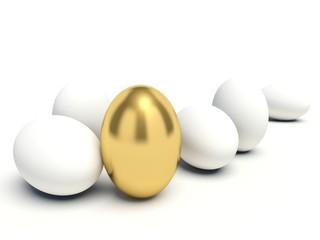 Golden egg among white eggs. 3d render illustration.