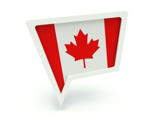 Bubble speech with the flag of Canada.