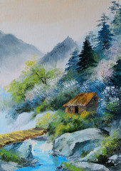 oil painting - landscape in mountains, house in the mountains an