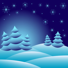 Winter background with fir trees on snowdrifts and snowflakes