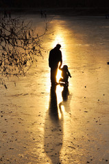 Skating, silhouette of the child.