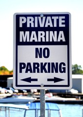 No parking sign in a private marina