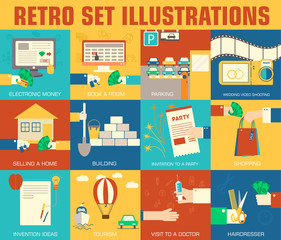 set of flat communication concepts illustrations. Vector backgro