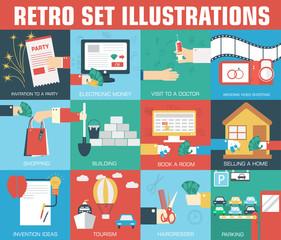 set of flat communication concepts illustrations. Vector backgro