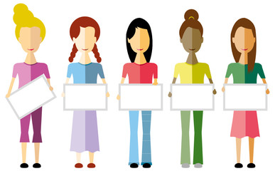 Cinque donne che tengono un cartello bianco