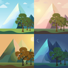 season icon set of nature tree background. Tamplate for web and
