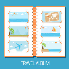 flat travel photo album illustration design concept background.