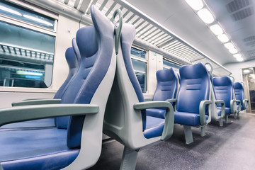interior view of a modern train