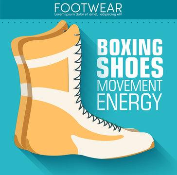 Flat sport boxing shoes background concept. Vector illustration