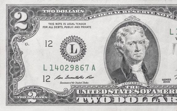 Macro shot of 2 dollar bill