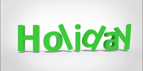 3D Holiday word green text