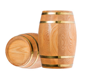 isolated two wood casks