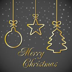 Christmas Card - Black-Gold