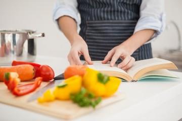 Woman following a recipe in book