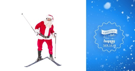 Composite image of portrait of happy santa claus skiing