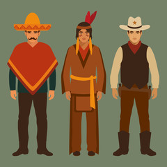 cowboy, indian and mexican, american people