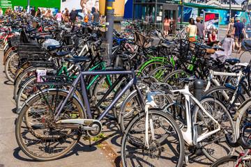 Many bicycles parked in  Copenhagen, Denmark