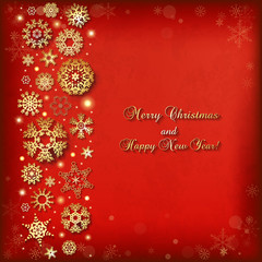 Christmas background with golden snowflakes and lights