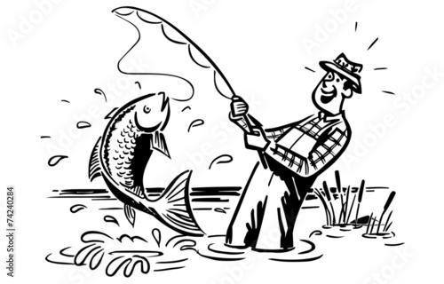 рисунки рыбака с удочкой